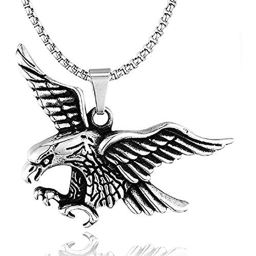 AMOZ Flying Bald Eagle Colgante, Collar, para Hombres Hip Hop American con 23.6'Cadena Vintage Hawk Colgante, Joyería de Aleación de Metal de Plata, Actualización/Oro