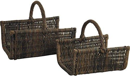 PEGANE Lot de 2 Paniers à bûches en poelet Coloris Noir, 50 x 35 x 23-42 - 60 x 46 x 28-50 cm