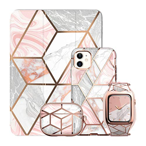i-Blason Cosmo Pink Collection Bundle - iPhone 12 Mini, 5.4', Apple Watch Series 6/SE/4/5 40mm, iPad 10.2' & AirPods Pro Case