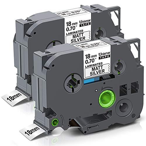 Unismar Compatible for Brother TZe-M941 Laminated Label Tape PTD400AD PTD400VP PT-D600 PTD600VP PT-P700 PT-P900W PT-2730 Label Maker, 3/4 in x 26.2 ft, Black on Matte Sliver, 2-Pack