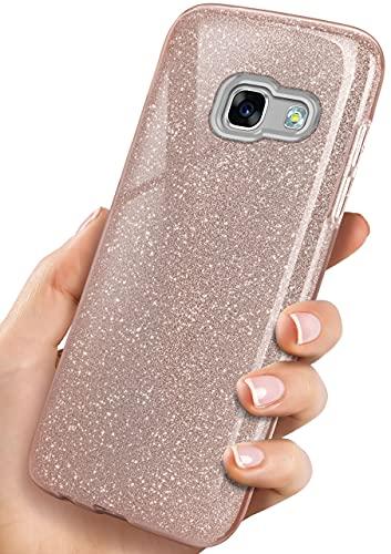OneFlow Cover Glitterata Compatibile con Samsung Galaxy A5 (2017)   Rivestimento antiabrasione, Rosa Dorato