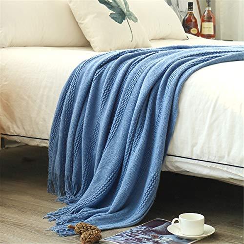 Manta de tiro suave mediterráneo nórdico Manta ligera Haze azul Twist Manta para colcha Sofá Sofá cubierta Bufanda