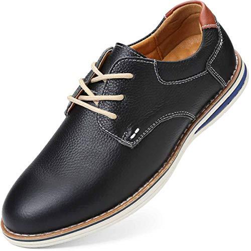 KEENPACE Herren Walk Derbys Schuhe Plain Casual Halbschuhe Leder Schnür Sneaker Freizeitschuhe Schwarz 40 EU