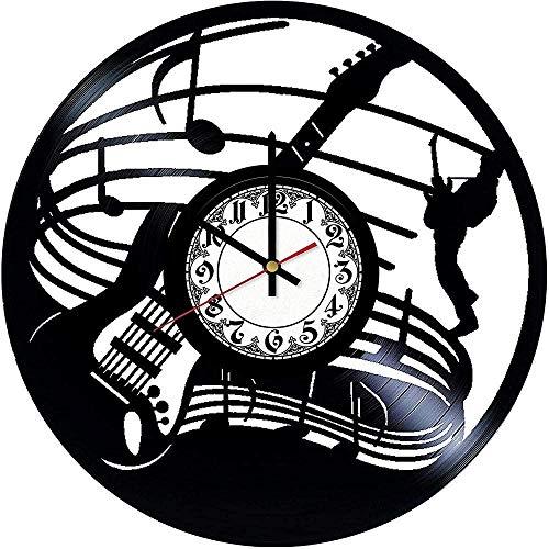 WYDSFWL Reloj de Pared Guitarra eléctrica Reloj de Pared de Vinilo Reloj...