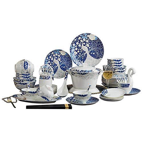LiChaoWen Vajilla De Vajilla De Cerámica Conjunto Hogar Europeo Creativo Hueso China Vajilla Juegos de combinación de vajilla (Color : Azul, Size : 68PC)