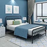 Metal Bed Frame with Headboard and Footboard Platform Mattress Foundation Heavy Duty Steel Slat Support Box Spring Replacement for Kids Adult Beds (Gray Silver, Queen)