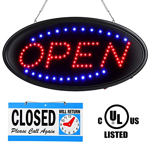 LED Open Sign, 19x10inch Upgrade Version Open Sign for Business Advertisement Board Electric Sign, Flashing & Steady Light, for Shop, Bar, Hotel,UL Certification, with Close Sign (71 inch Power Cable)