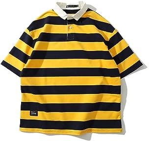 BaronHong Cotton Fashion Short Sleeve Striped Polo Shirt for Tomboy Trans Lesbian