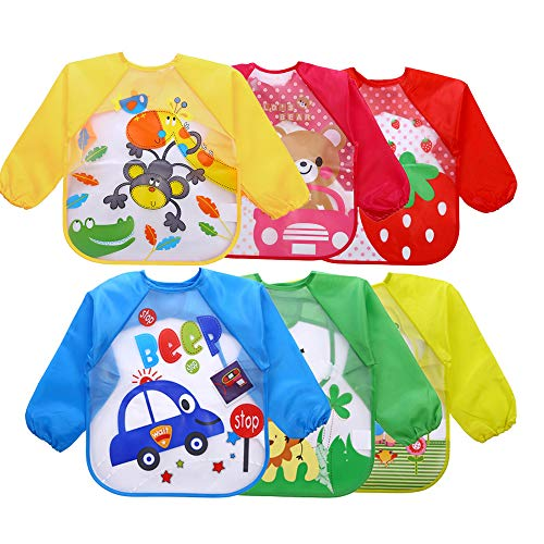 1-6Years Baby Waterproof Long Sleeve Eating Bibs Children School Painting Smocks