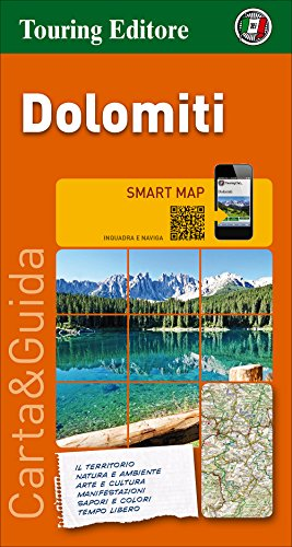 Dolomitas, mapa de carreteras impermeable. Escala 1:200.000. Touring Club Italiano. (Smart map)
