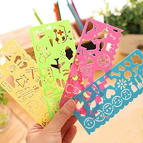 Bodhi2000 Lot de 4 règles en plastique avec symboles graphiques - Modèle de dessin animé - Jouet éducatif pour enfants - Couleur aléatoire