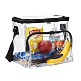 Large Clear Lunch Bag Lunch Box with Adjustable Strap and Front Storage Compartment