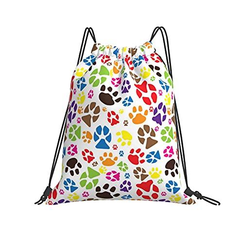 QUEMIN Bolsa clásica con cordón Animal Paws Gym Sack Bag Mochila con cordón Bolsa de Deporte de poliéster para Hombres y Mujeres
