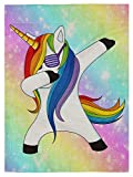 pingpi Funny Unicorn Dance Garden Flag Design,Galaxy Hipster Unicorn Wear Funny Sunglasses Double Sided Burlap Garden Flag 12.5'x18'