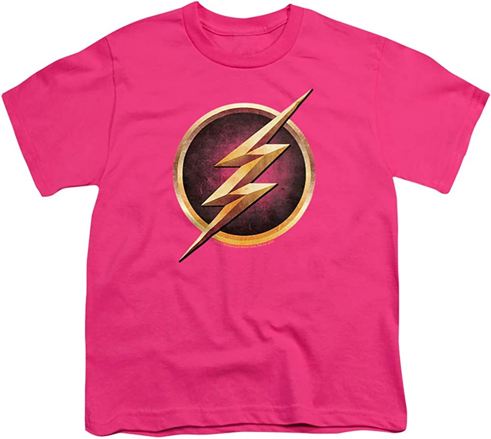 The Flash Chest Logo Unisex Youth T Shirt, Hot Pink, Small