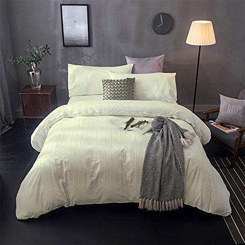 Lausonhouse Cotton Embroidery Duvet Cover Set,100% Cotton Embroidered Lace with Pintuck Pleat Bedding Set,3 Pieces (1 Duvet Covet with 2 Pillowsham) - Queen - Cream