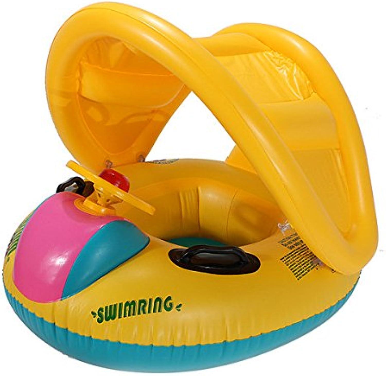 Kids Boat Float  Baby Float Boat  Adjustable Sunshade Baby Swim Float Seat Boat Inflatable Ring (Baby Swim Float Boat)