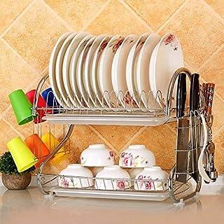 ghl Support de Cuisine Pour Plats Support D'Assaisonnement Cuisine Multifonctionnelle Acier Inoxydable Double Disques Rack...