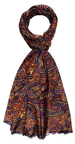 LORENZO CANA - Luxus Designer Schal Schaltuch aus Baumwolle mit Seide aufwändig bedruckt Paisley Muster Marken Tuch Schaltuch 70 x 190 cm 8910911