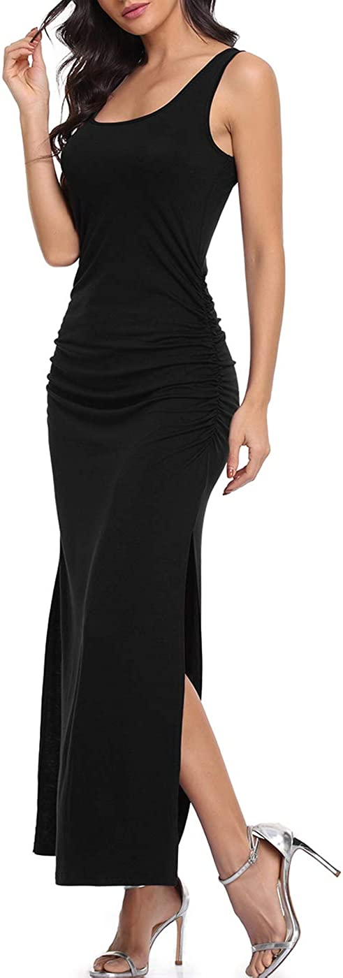 PEIQI Sleeveless Sides Slit Scoop Neck Maxi Dress Ruched Sexy Long Dress Beach Dress