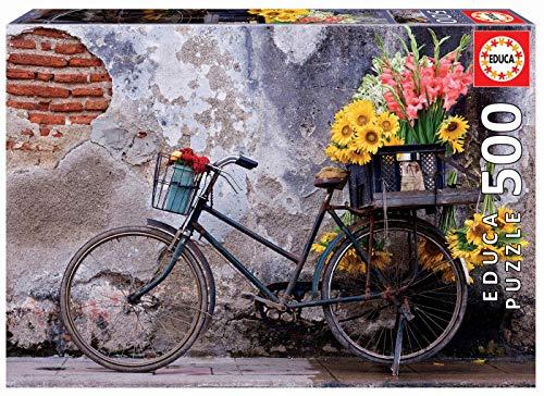 Educa RIF. 17988 Puzzles. Bicicletta con Fiori nel cestello. Puzzle di 500 Pezzi, Colore Vario, Piezas