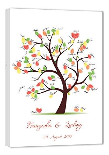 galleryy.net Hochzeitsbaum Fingerabdruck 60x40 mit Namen & Datum - INKL Zubehör-Set GRATIS (Stempelkissen+Stift+Anleitung+Hochzeitsbuch+...) - Hochzeitsbaum Fingerabdruck Gäste