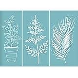 OLYCRAFT - Plantilla de Impresión de Pantalla de Seda Autoadhesiva para Plantas, Plantillas de Patrón Reutilizables para Pintar sobre Tela de Madera, Camisetas, Decoración de Pared Y Hogar