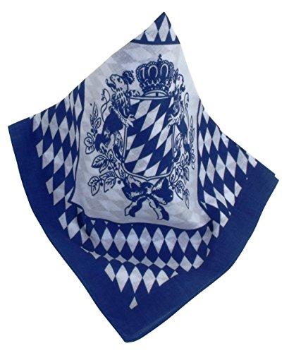Blau-weißes Nickituch | Kopftuch im Bayern-Look mit bayerischem Wappen | Bandana aus 100% Baumwolle | Halstuch 53 x 53 cm | Teichmann