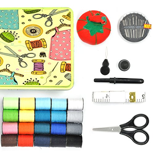 eZAKKA Compact Sewing Kit Accessories Sewing Sew Supplies with Tin Case Organizer Box as Gift for Kids Girls Beginners Adults