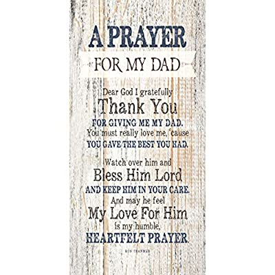 Dad (Father) Prayer Wood Plaque with Inspiring Quotes - Classy Vertical Decoration | Dear God I Gratefully Thank You for Giving me My dad