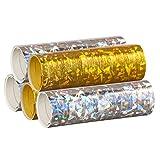 Silber & Gold Mix - Metallic Luftschlangen im 5er Sparpack - 5 Rollen mit je 18 holografisch-glitzer…