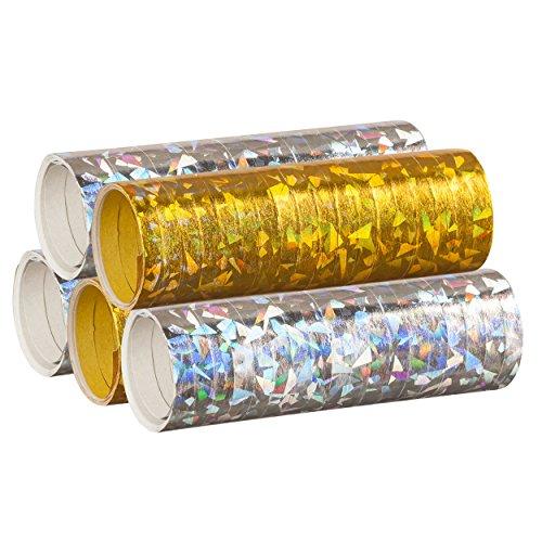 Silber & Gold Mix - Metallic Luftschlangen im 5er Sparpack - 5 Rollen mit je 18 holografisch-glitzernden Luftschlangen - für Silvester, Karneval, Fasching, Geburtstag, Hochzeit - PARTYMARTY GMBH®