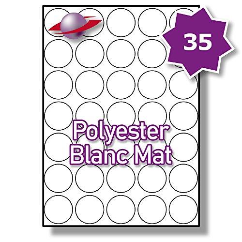 35 Par Feuille, 250 Feuilles, 8750 Étiquettes. Label Planet® Étiquettes Amovibles en Polyester A4 Mattes pour Imprimantes Laser 37mm Diamètre, LP35/37 R MWP.