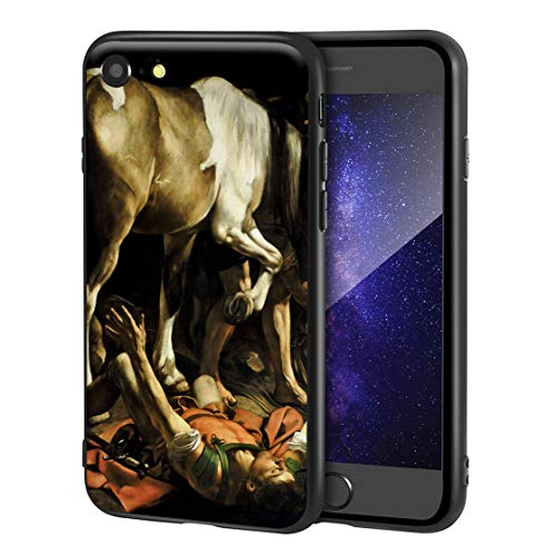 Berkin Arts Caravaggio Custodia per iPhone SE(2020)/iPhone 7/8/per Cellulare Arti/Stampa giclée a UV sulla Cover del Telefono(Conversión en El Camino a Damasco)