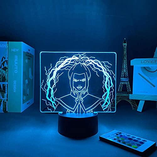 Lámpara de Anime 3D acrílico LED luz de noche avatar el último aviador para niños decoración de dormitorio de niños luz de noche avatar azula regalo