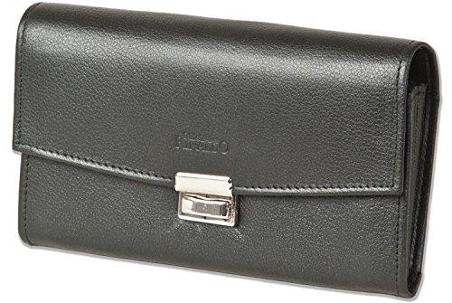 Rinaldo - camerieri borse economico con fondo rinforzato in una grande portamonete in pelle liscia con il nero