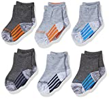 Skechers Kids Baby Skechers Infant Boys 6 Pack Anklet Socks, grey/orange, 2-4T