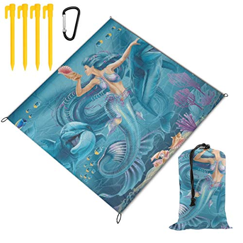 Find Discount Hucuery Picnic Blanket 59 X 57 in Mermaid and Dolphins Illustration Foldable Waterproo...