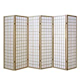Homestyle4u 190, Paravent Raumteiler 6 teilig, Holz Natur, Reispapier Weiß, Höhe 175 cm