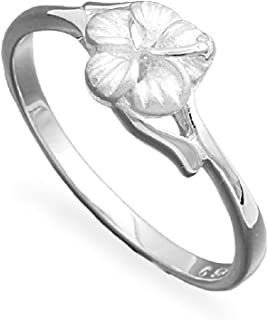 CloseoutWarehouse Single Plumeria Flower Ring Sterling Silver 925
