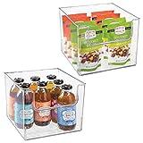 mDesign 2er-Set Aufbewahrungsbox für Lebensmittel – Küchen Ablage mit offener Vorderseite für Kühlschrank, Schrankfach oder Gefriertruhe – Kühlschrankbox aus BPA-freiem Kunststoff...
