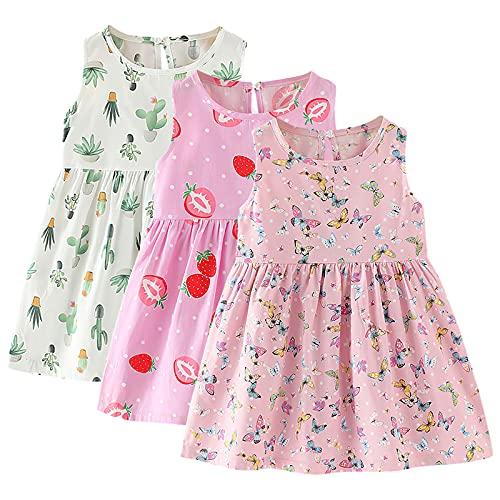 amropi Pack de 3 Vestidos sin Mangas para Bebé Niña Algodón Floral Casual Vestido Rosa Verde Rojo,2-3 años