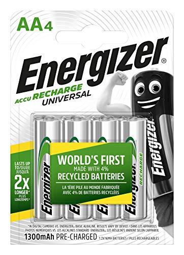 Batterie AA ricaricabili Energizer Recharge Universal, confezione da 4