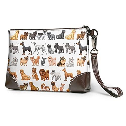 XCNGG Cute Dogs Printed Clutch Purse Desmontable Leather Wristlet Wallet Bag Bolso de mujer Bolso de mano