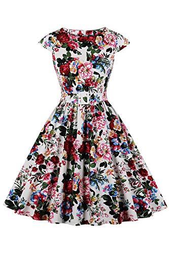 AXOE Damen Sommerkleid Knielang Kurzarm Schöne Vintage Kleid Baumwolle F02 Gr.38, M