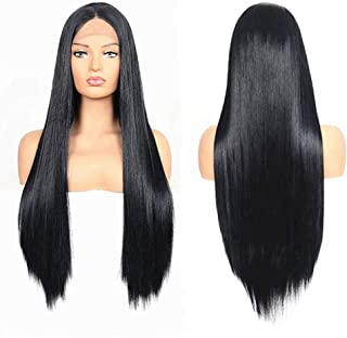Lace Front Wigs Straight Hair Wigs Long Wigs Natural Human Hair for Black Women and White Women (Black-26 inch)