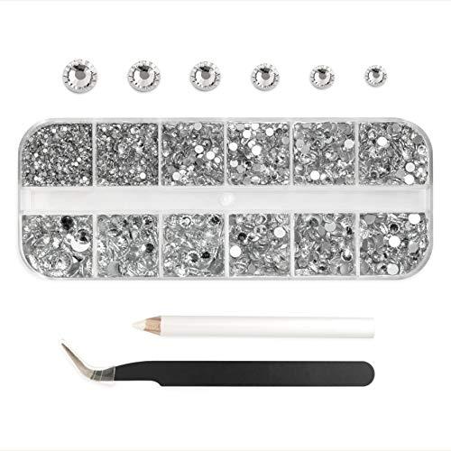 Hue mae 3672 pcs Flatback Round Rhinestones,Crafts Glass Gemstones Crystal...