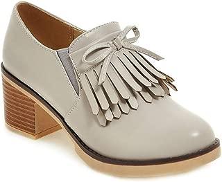 Women's Tassel Platform Wedge Oxford Shoes Round Toe Slip-On Chunky Block High Heel Casual Dress Pump