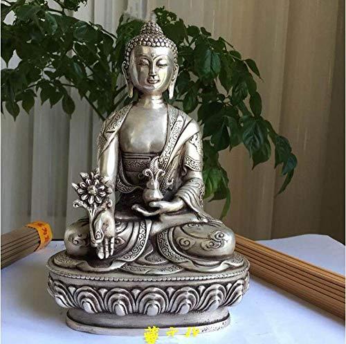 HSIYE,Escultura,Estatua de Cobre, Budismo de Plata, dragón Fino, Po Sang, Buda, Asiento de Loto, Escultura, Estatua de Buda de la Medicina