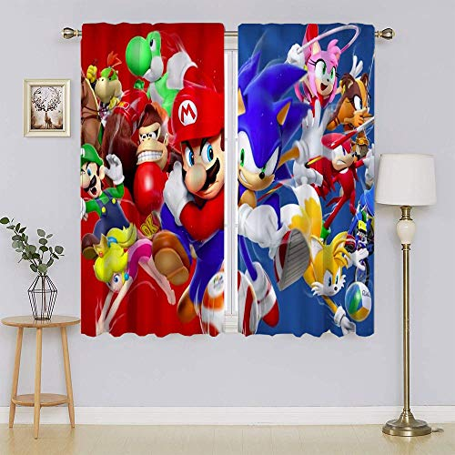 lacencn Mario Brothers Living Room Curtain Thermal Insulated Keep Warm Draperies, Sliding Door Drapes for Bedroom W42 x L63